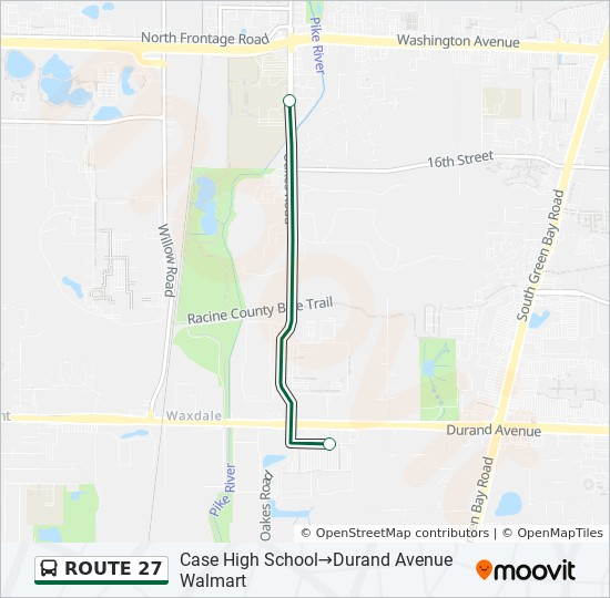 ROUTE 27 Route Time Schedules, Stops  Maps - Durand Avenue Walmart