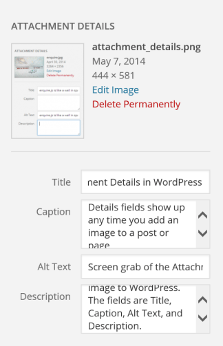 Screen grab of the Attachment Details fields in WordPress
