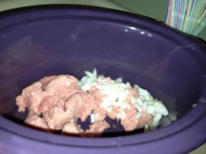 browning ground turkey in the crockpot