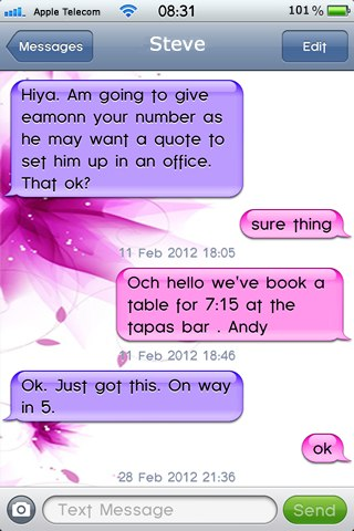 Pretty-in-Pink SMS Theme · Cydia