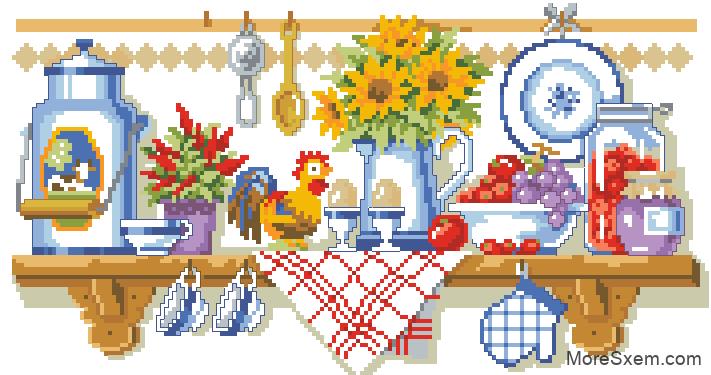 Картины и схемы вышивки крестом для кухни