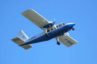 Air Tetiaroa - Britten-Norman 8-passenger BN2T on its way to The Brando eco resort.