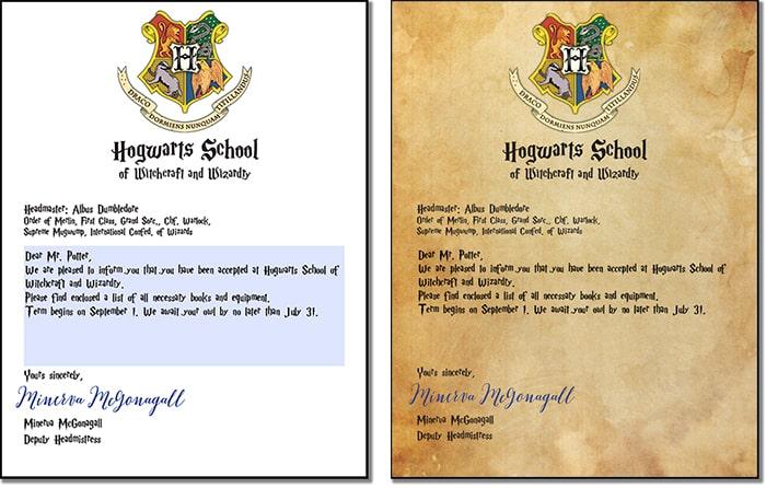 Hogwarts Letter Personalised Hogwarts Acceptance Letter
