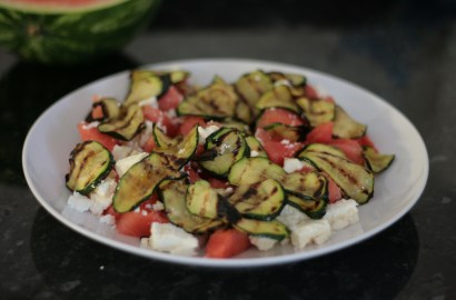 Watermelon, feta and courgette salad