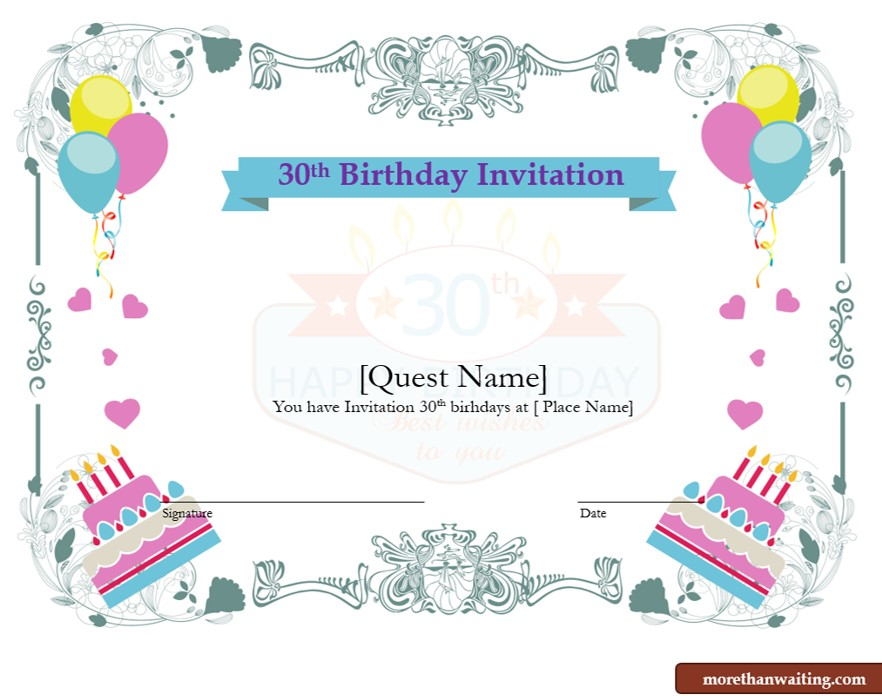Free 30th Birthday Invitations Templates For Him Or Her Graphic