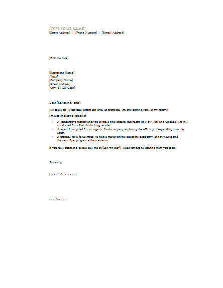sample cover letter with enclosed resume researchmethods