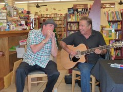 """Photo by Roni Depue Morgan Hill Life Advertising Director Mark """"Fenny"""" Fenichel and Greg Kihn at Kihn's signing of his new book at BookSmart Oct. 15."""