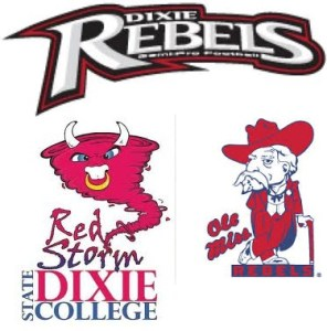 Utah's Dixie College Rebels changed their name about the same time they went University status.  Now they are the Dixie State Red Storm.  But nobody seems to be asking the University of MIssissippi Rebels to change their mascot, despite this good ole' boy racist image.