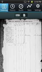 Full census page view in mobile app