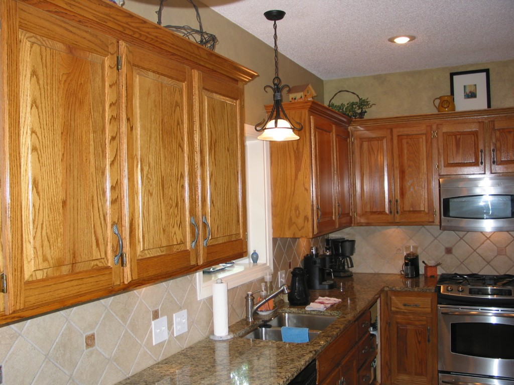 Used Oak Kitchen Cabinets Cabinet Refinishing Before And After