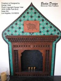 Moroccan Tiles and Mousharabi Panel Fireplace | Moroccan ...