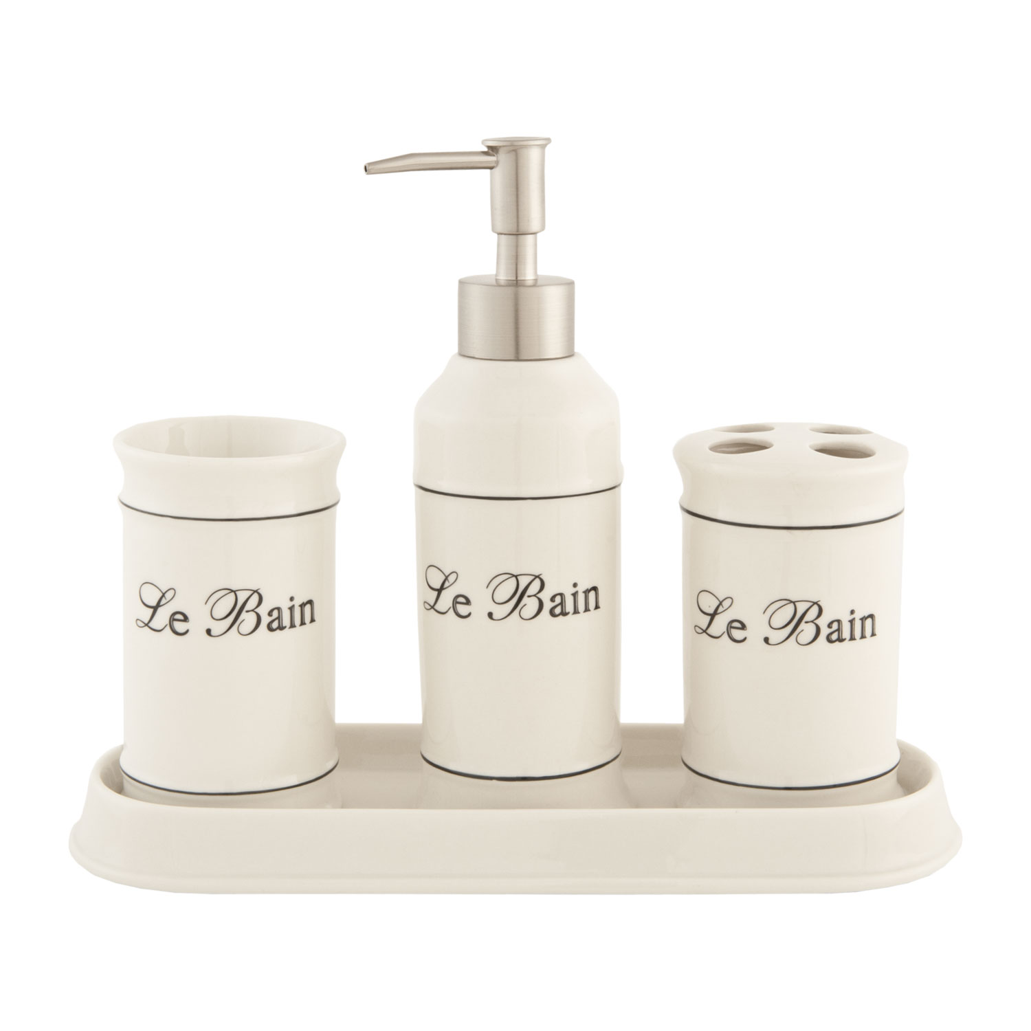 Bad Set Weiss Keramik Clayre And Eef 62474 Bad Set 4 Teilig Le Bain 4 Teilig Keramik