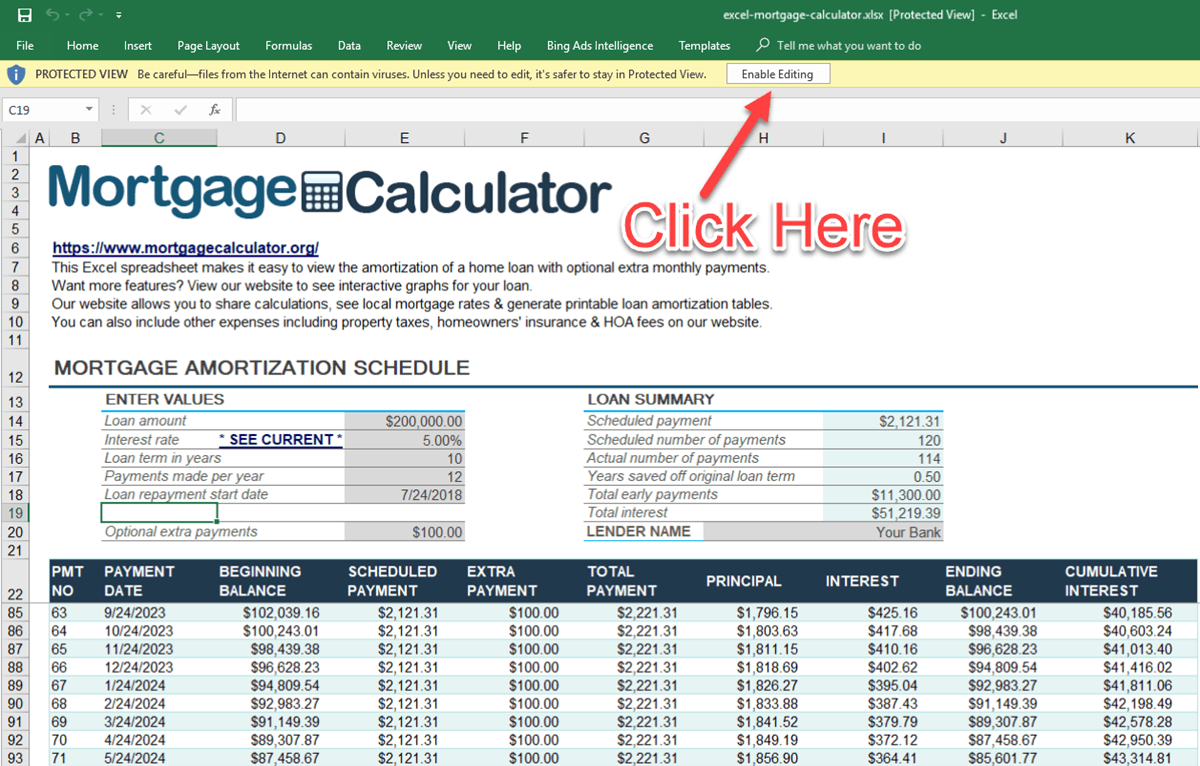 Bank Home Mortgage Rates Download Microsoft Excel Mortgage Calculator Spreadsheet