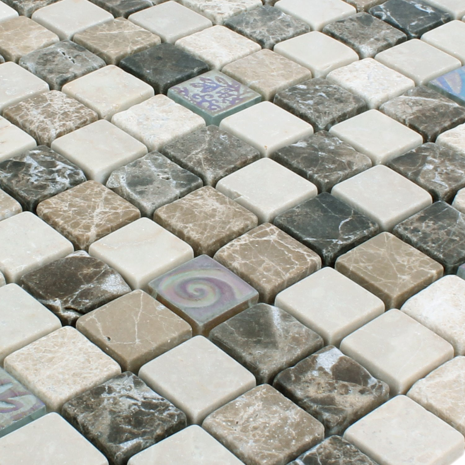 Dusche Java Mosaic Tiles Relief Marble Java Glass Mix Beige