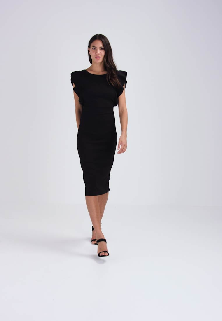 Trockner Schmal Wal G. Flutter Sleeve Fitted Dress - Etuikleid - Black