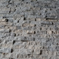 Silver Travertine 1x2 Split Face Mosaic Tile