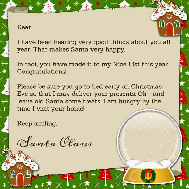 Printable Santa Claus Letter - mother2motherblog