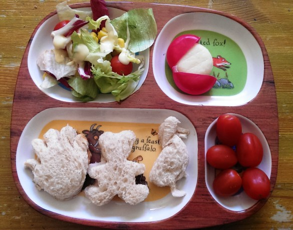 Shaped sandwiches, cheese, tomatoes & salad. Not a bad effort.