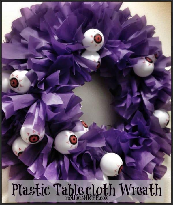 plastic tablecloth wreath Halloween