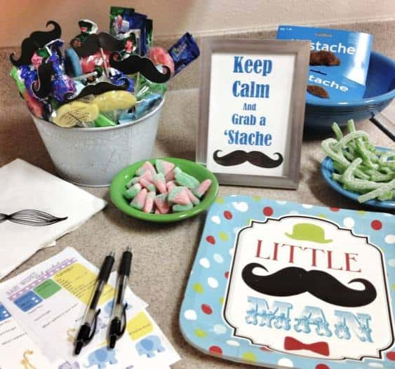 """Little Man"" baby shower theme. We all wore mustaches :)"