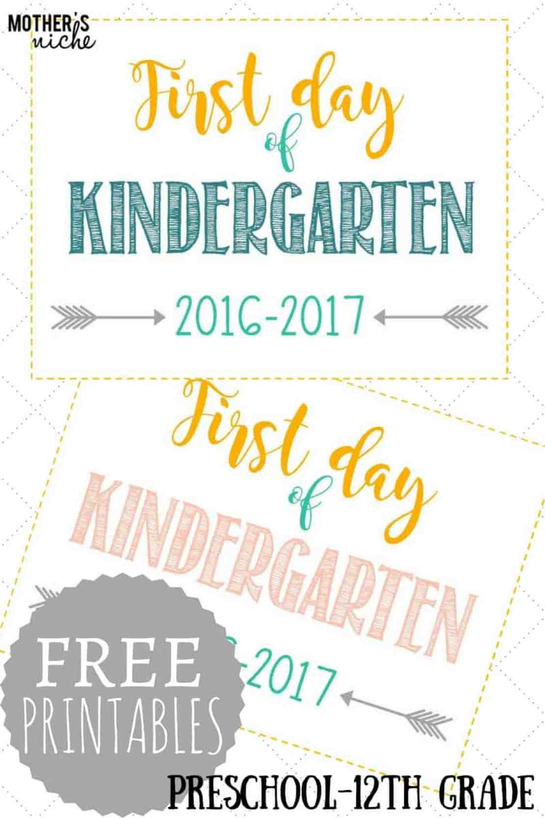 first day of preschool printable day of school signs free printables pre school 616