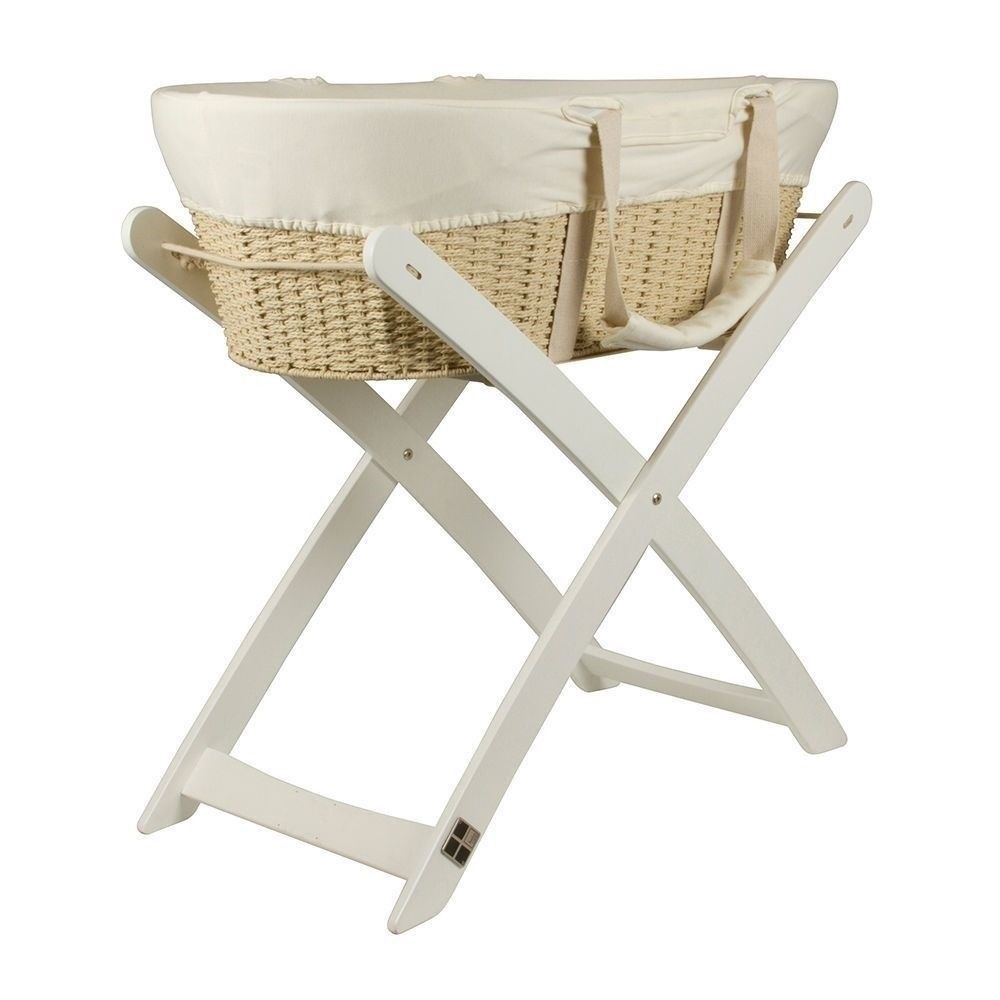 Baby Bassinet Moses Basket Details About Bebecare Baby Bassinet Moses Basket With White Stand