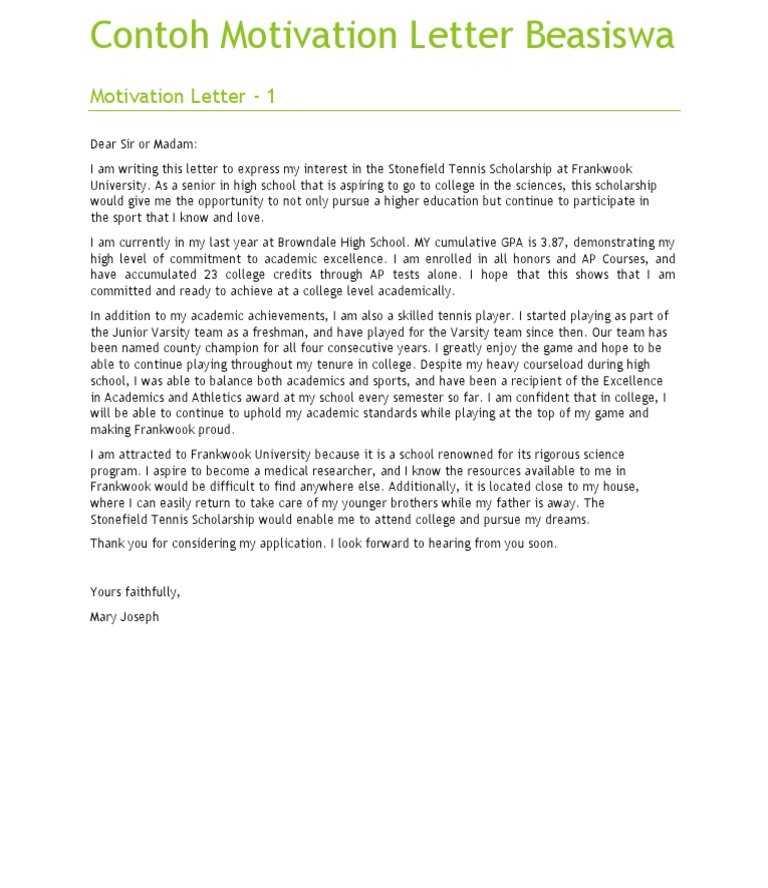 Free Sample of Contoh Motivation Letter Motivation Letter