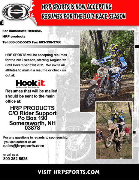 HRP SPORTS IS ACCEPTING RIDER RESUMESMotocross Action Magazine - motocross sponsorship resume