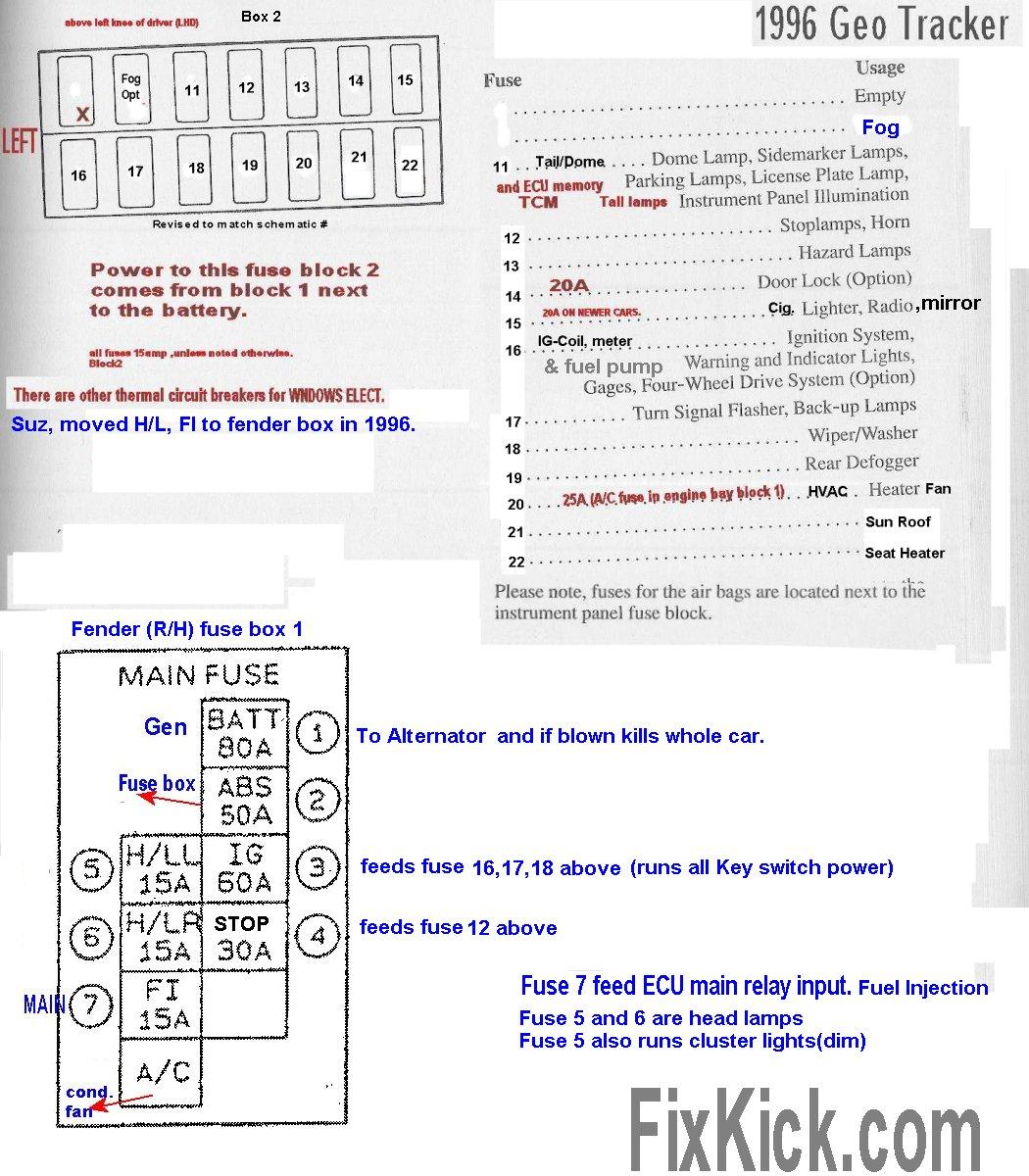 geo tracker fuse box diagram