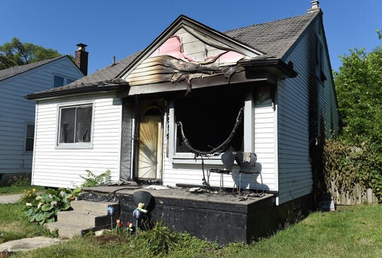 The remains of Monday night's house fire at 8600 Pierson St., Detroit, Tuesday, June 30, 2020. (Photo: Clarence Tabb Jr., The Detroit News)
