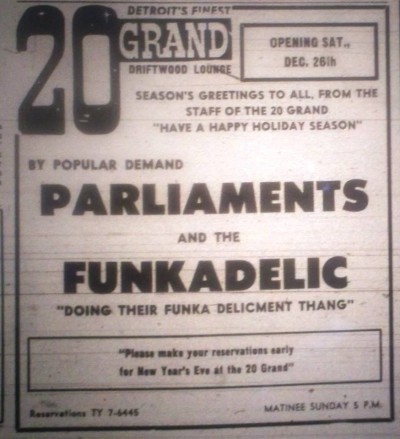 Dec. 26, 1970: Parliament and Funkadelic play the 20 Grand Driftwood Lounge