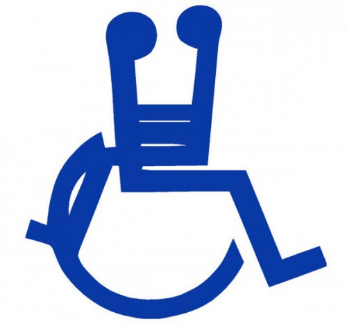standard accessibility logo with another person straddling the first