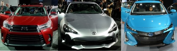 Toyota inició su celebración en el auto show de Nueva York con un lanzamiento triple. Desde la izquierda: Highlander 2017, Toyota 86 y el nuevo híbrido enchufable, el Prius Prime. Fotos: Andrés O'Neill, Jr.