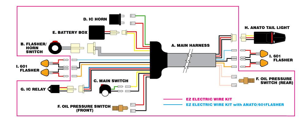 MotoLED EZ Electric Wire Kit - Light Kit - Light Kit - Supermoto