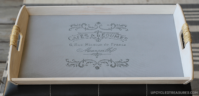 DIY French Cottage Tray - Tutorial on how to turn a plain Ikea tray into a French Cottage style tray using wax paper transfer! UpcycledTreasures.com