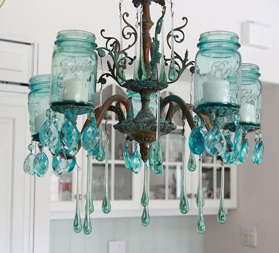aqua mason jar chandelier Shabbyfufu.com