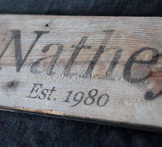 diy established monogram wood sign wedding favor mountainmodernlife.com