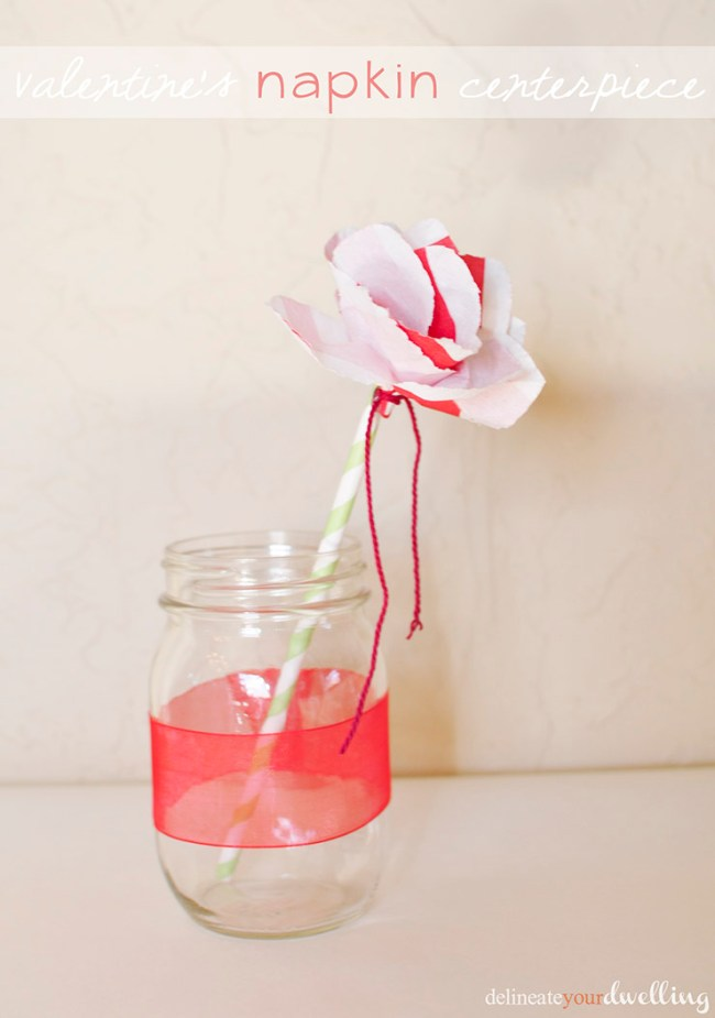 20 Valentine Craft Ideas that you can do last minute | Valentine Napkin Flower Centerpiece | Delineate Your Dwelling
