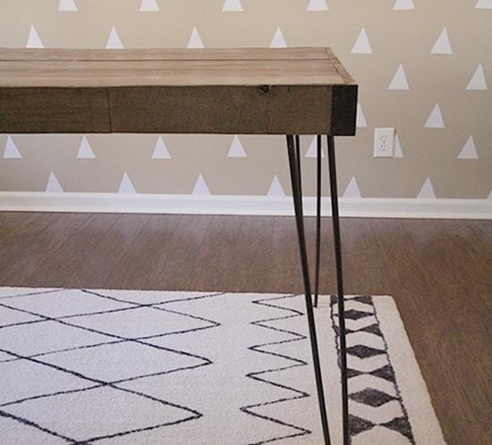 diy rustic industrial desk hairpin legs in office mountainmodernlife.com
