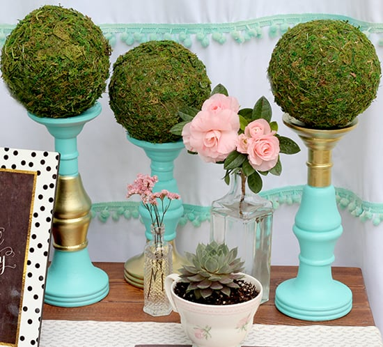 DIY turquoise and gold candle holders with moss ahandcraftedwedding for mountainmodernlife.com