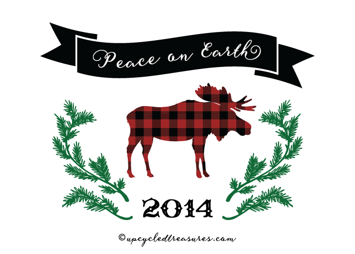 5x7 Plaid Moose Printable Peace on Earth Card - For Personal Use Only - upcycledtreasures.com-02-01
