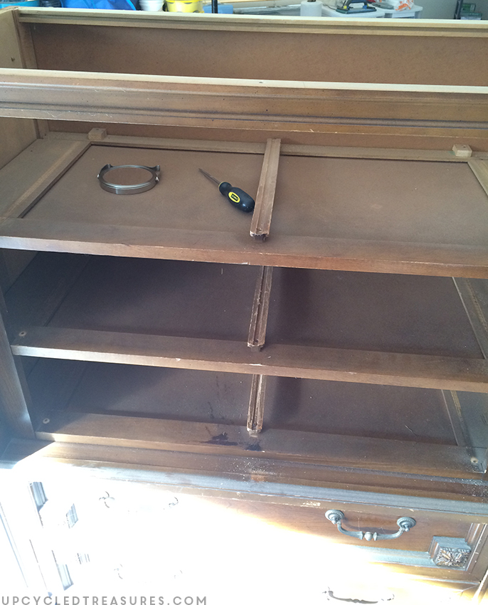 unscrewed-damaged-top-of-basic-witz-mid-century-armoire-upcycledtreasures