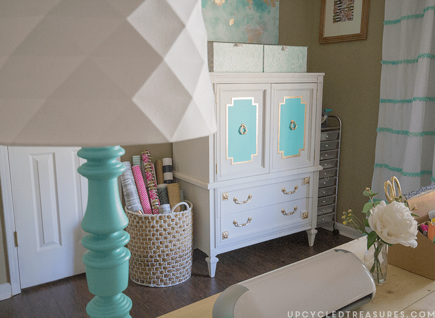 gold-and-aqua-armoire-makeover-in-craft-room-upcycledtreasures