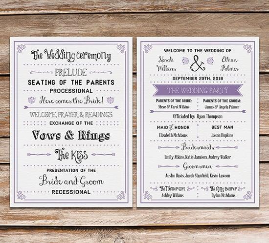 Modest image for printable wedding programs