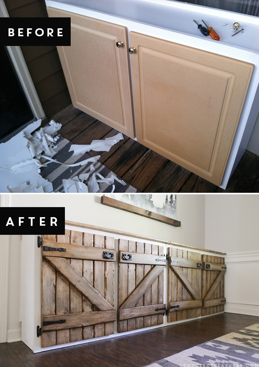 upcycled barnwood style sideboard kitchen cabinet door styles Here is the before and after of our upcycled barnwood style sideboard