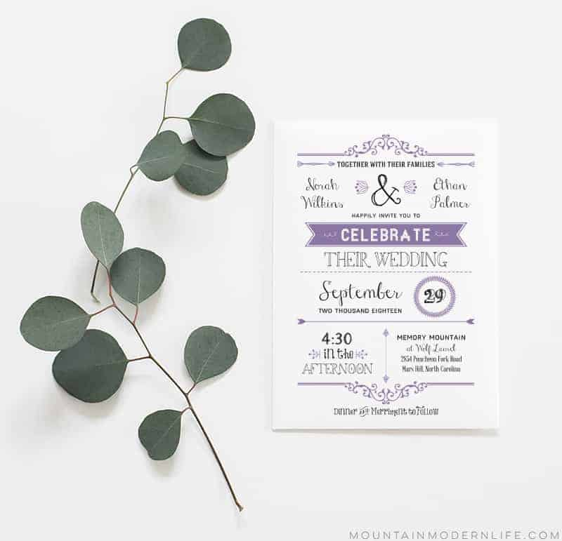 Vintage Rustic DIY Wedding Invitation Template MountainModernLife