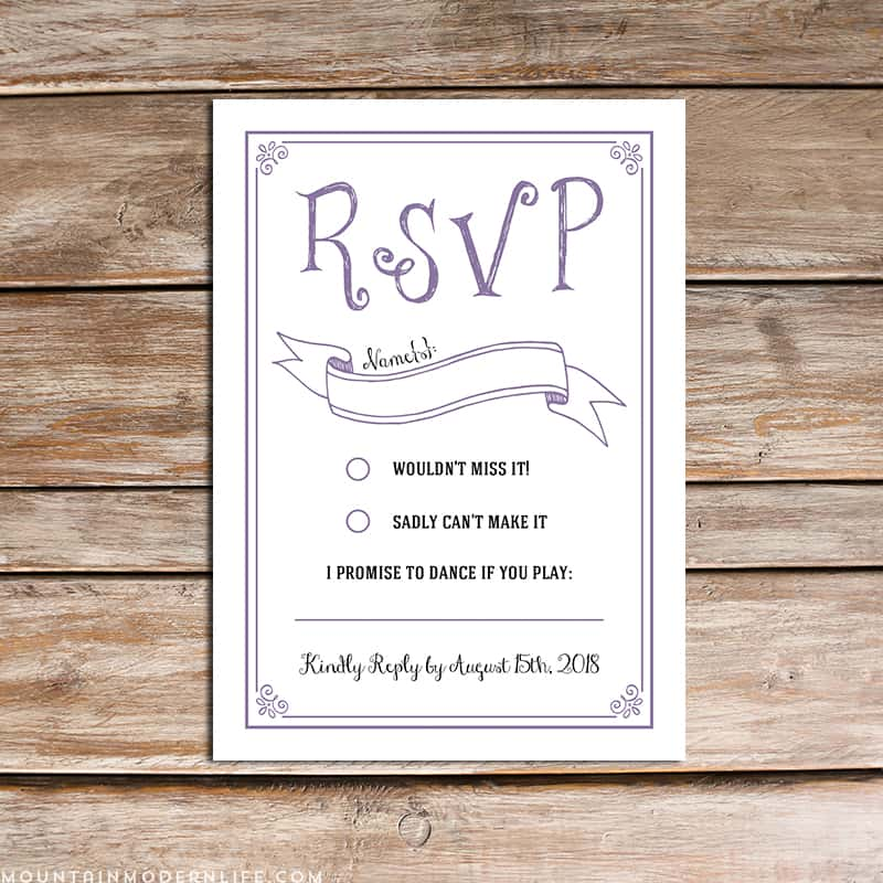 Wedding rsvp card template for Read write think postcard template