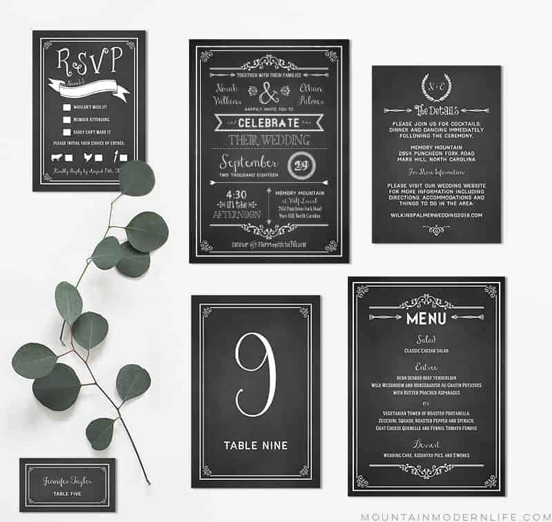 Chalkboard DIY Wedding Invitation Set MountainModernLife