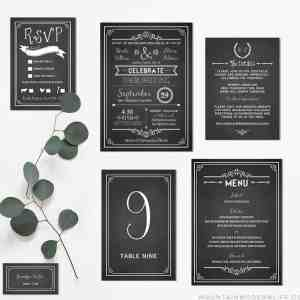 Printable Chalkboard Wedding Invitation Set | MountainModernLife.com