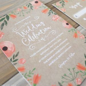 Printable Floral Invitation + RSVP Card Templates with Kraft Style Background | MountainModernLife.com